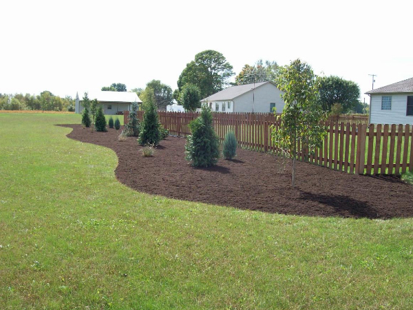 wood fence and landscaped mulch bed